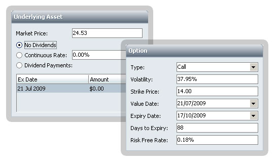 Option Calculator screenshot